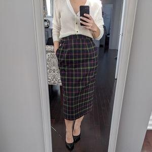 Vintage plaid wool blend skirt